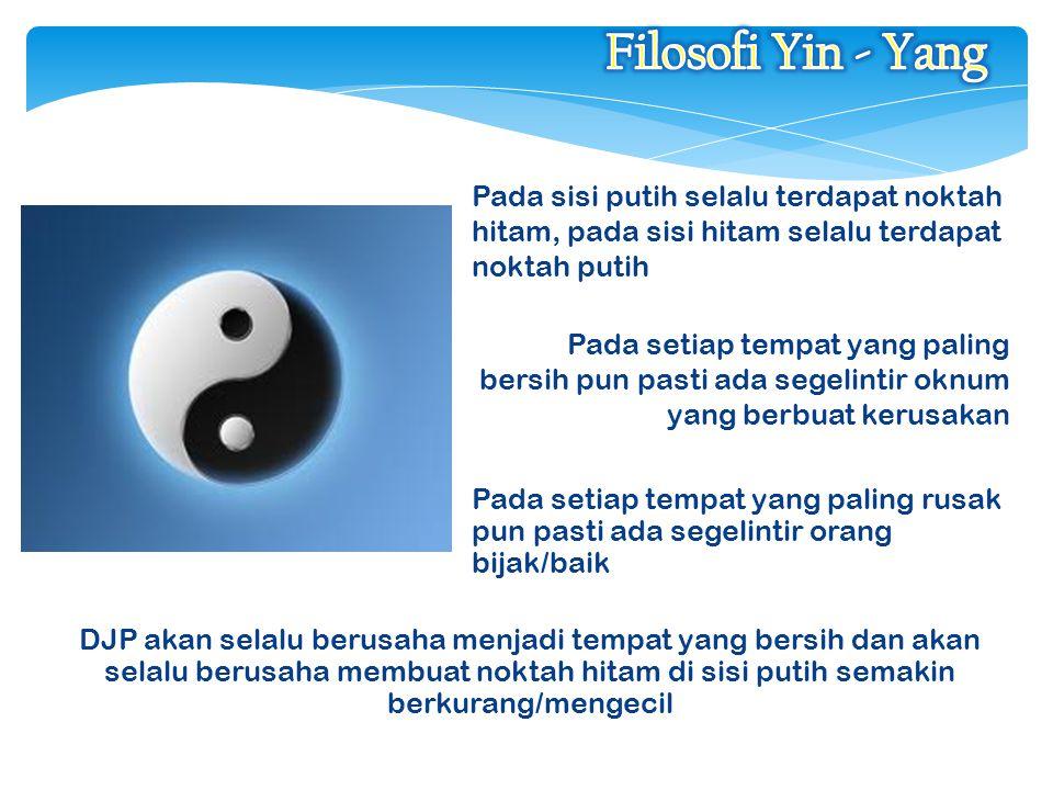 Filosofi Yin - Yang Pada sisi putih selalu terdapat noktah hitam, pada sisi hitam selalu terdapat noktah putih.