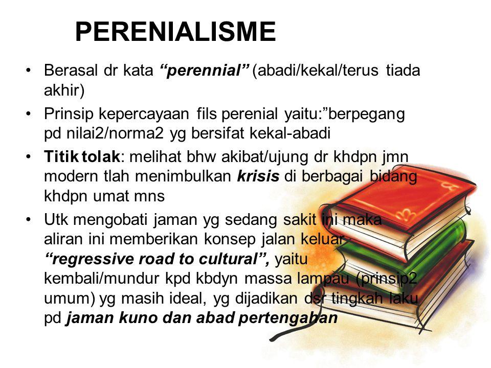 PERENIALISME Berasal dr kata perennial (abadi/kekal/terus tiada akhir)