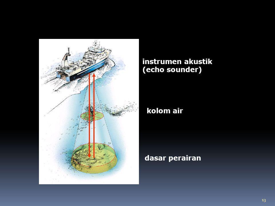 instrumen akustik (echo sounder) kolom air dasar perairan