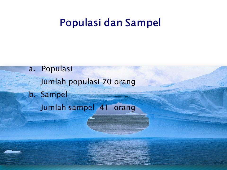 Populasi dan Sampel Populasi Jumlah populasi 70 orang b. Sampel