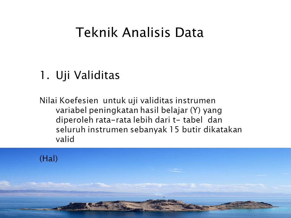 Teknik Analisis Data Uji Validitas