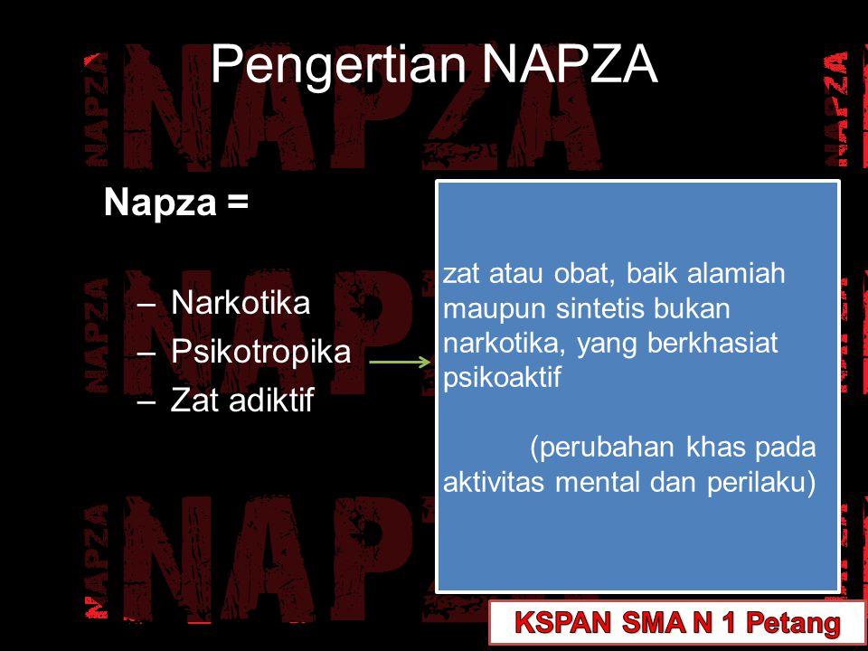 Pengertian NAPZA Napza = Narkotika Psikotropika Zat adiktif