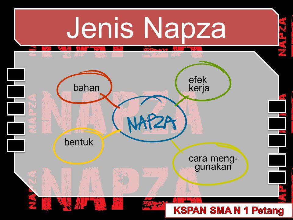Jenis Napza efek bahan kerja bentuk cara meng- gunakan
