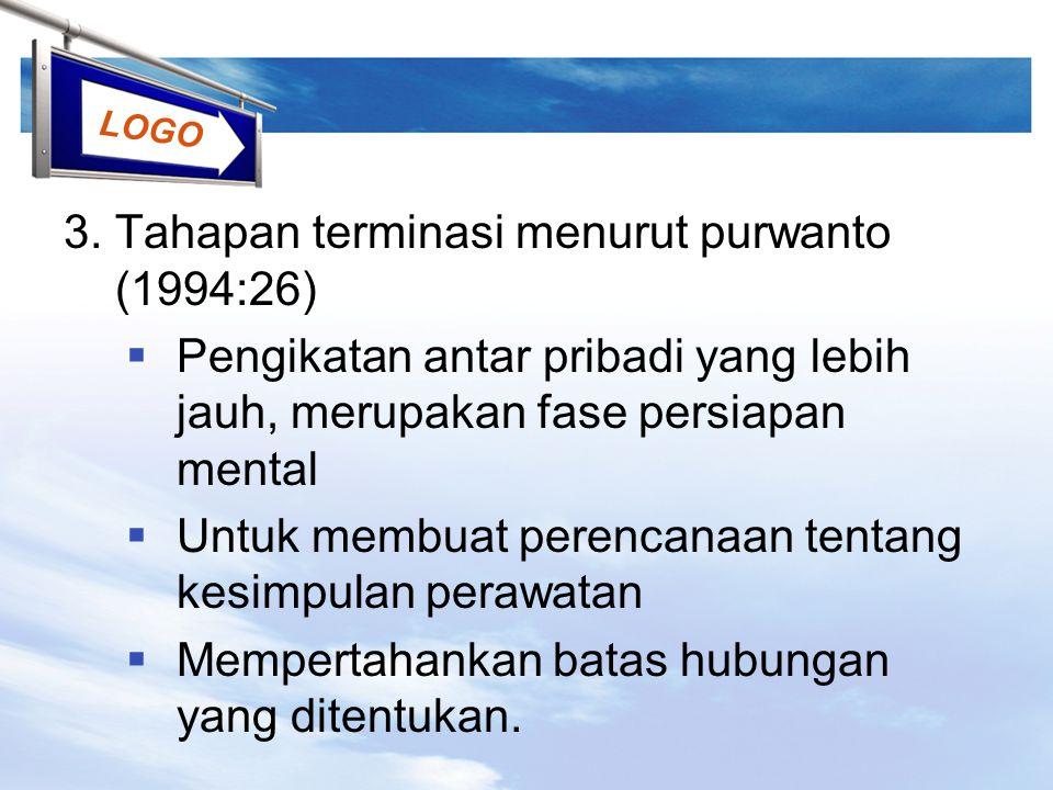 3. Tahapan terminasi menurut purwanto (1994:26)