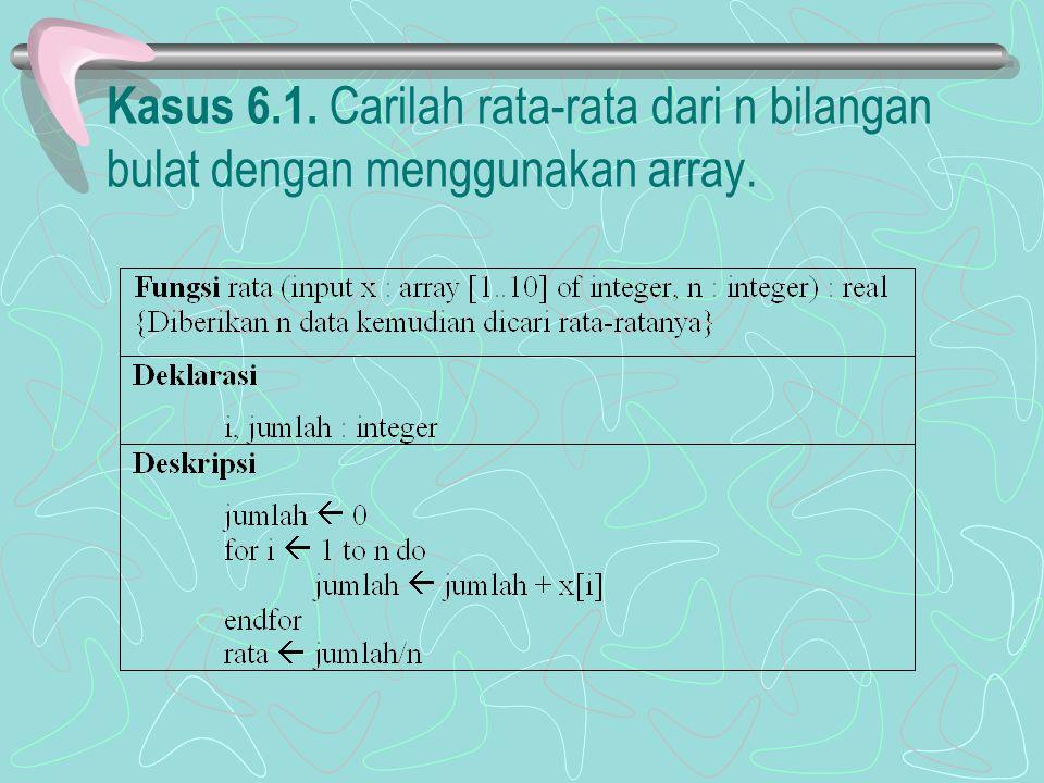 Kasus 6.1. Carilah rata-rata dari n bilangan bulat dengan menggunakan array.