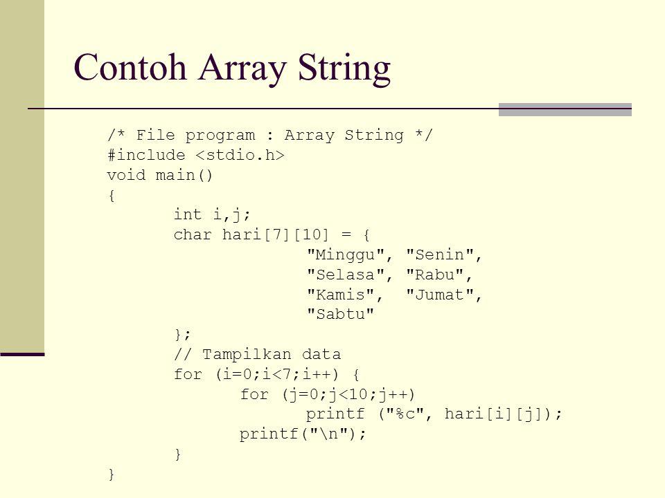 Contoh Array String /* File program : Array String */