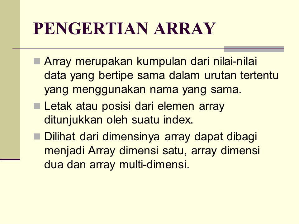 PENGERTIAN ARRAY Array merupakan kumpulan dari nilai-nilai data yang bertipe sama dalam urutan tertentu yang menggunakan nama yang sama.