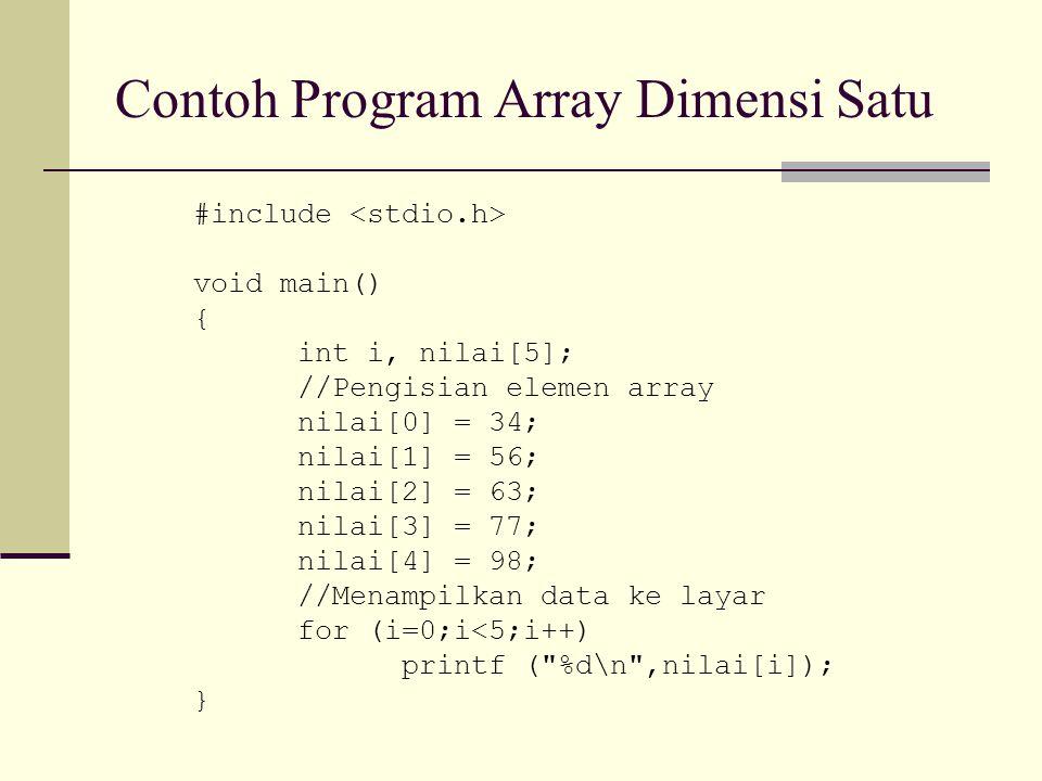 Contoh Program Array Dimensi Satu