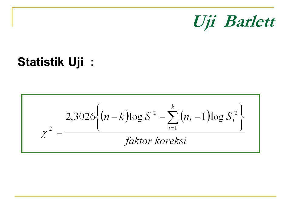 Uji Barlett Statistik Uji :