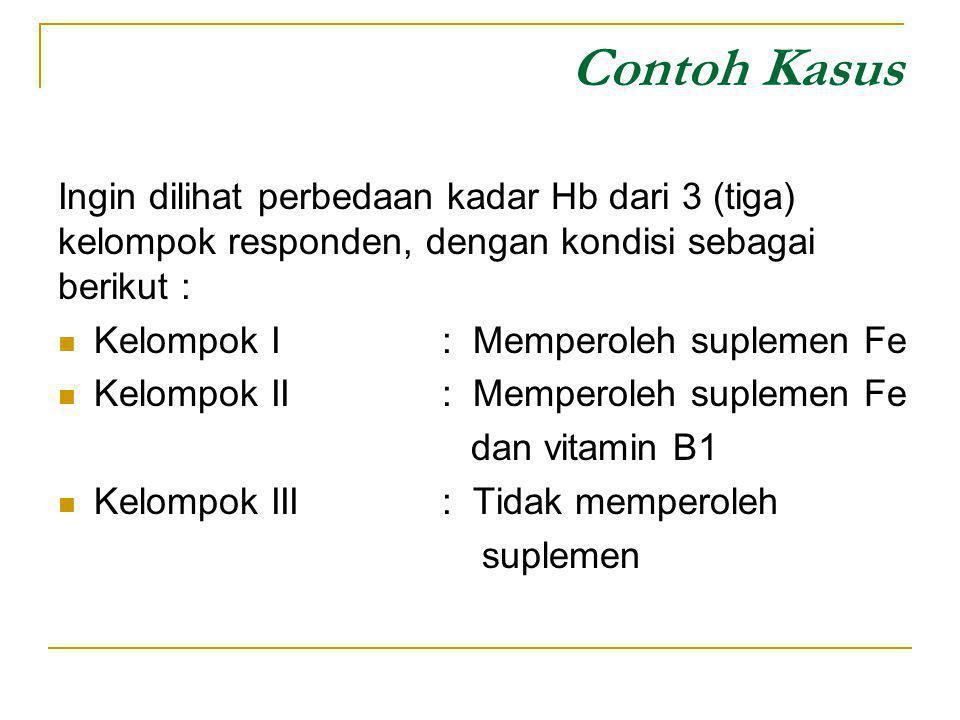 Contoh Kasus Ingin dilihat perbedaan kadar Hb dari 3 (tiga) kelompok responden, dengan kondisi sebagai berikut :