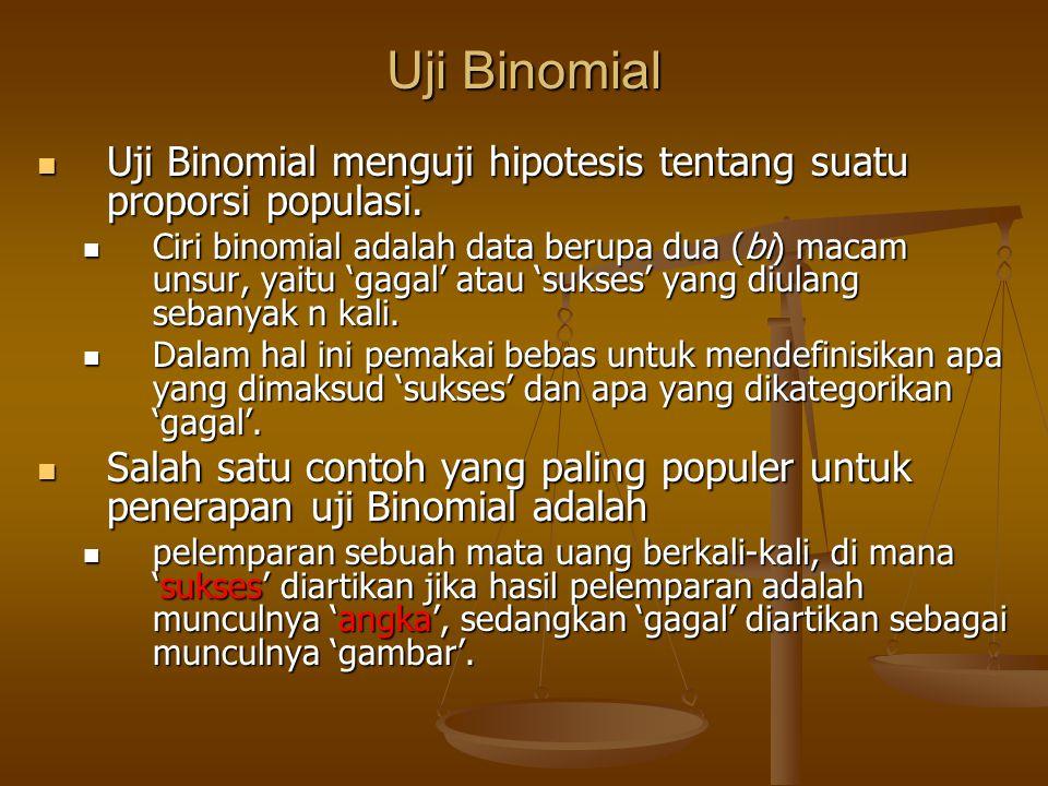 Uji Binomial Uji Binomial menguji hipotesis tentang suatu proporsi populasi.