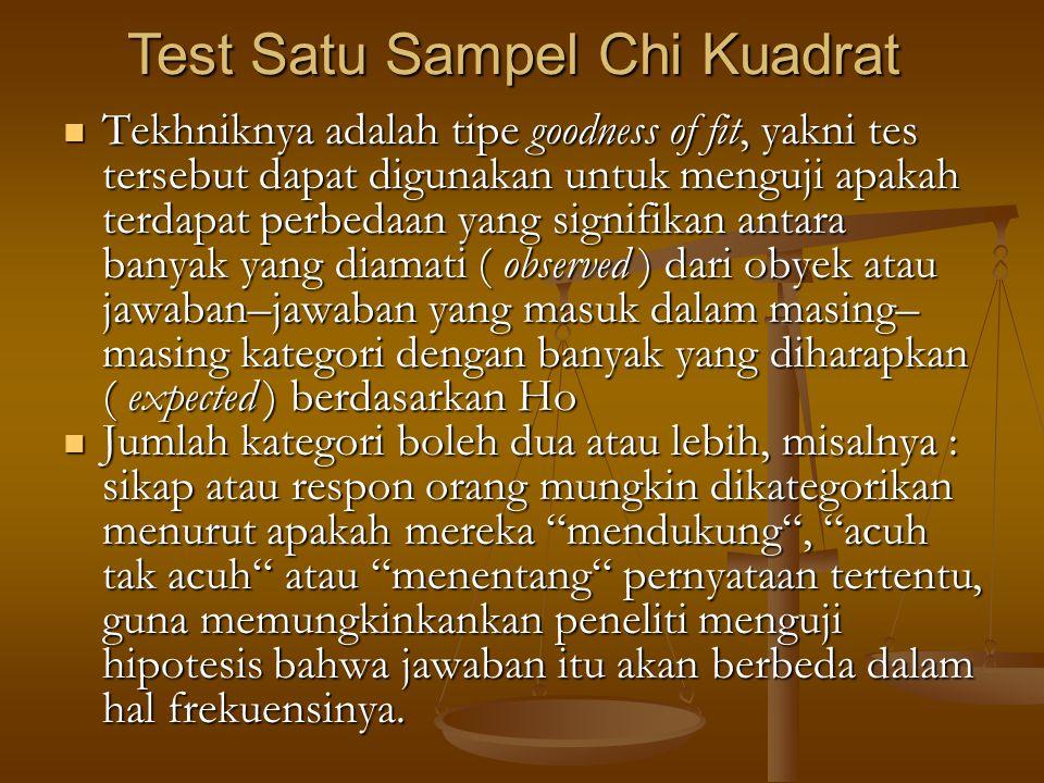 Test Satu Sampel Chi Kuadrat