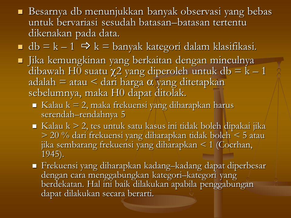 db = k – 1  k = banyak kategori dalam klasifikasi.