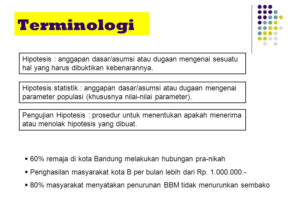 Terminologi Hipotesis : anggapan dasar/asumsi atau dugaan mengenai sesuatu hal yang harus dibuktikan kebenarannya.