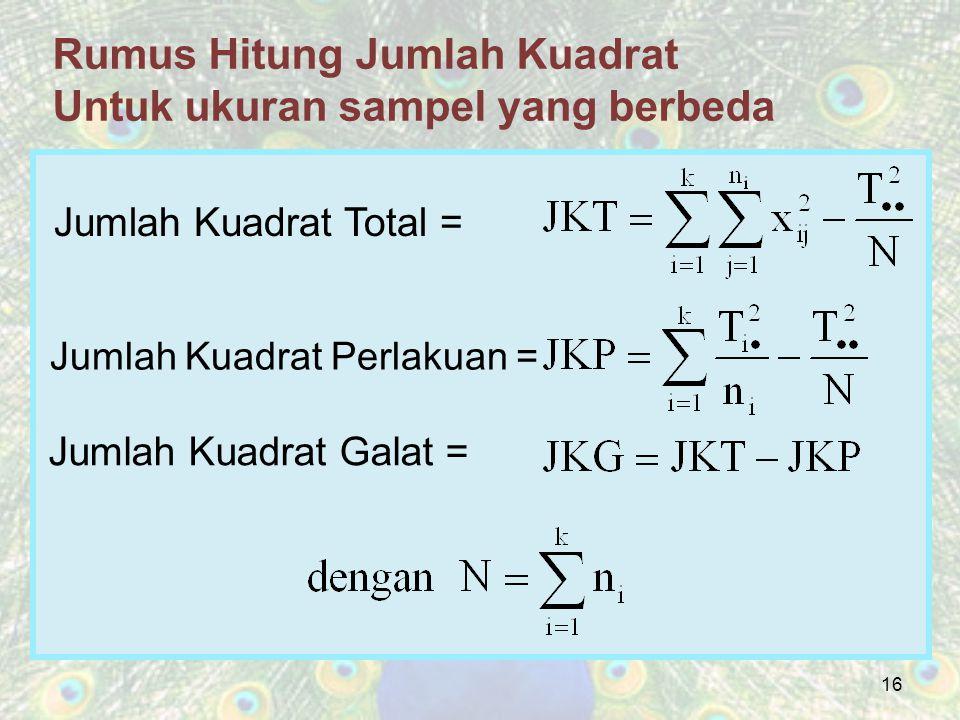 Rumus Hitung Jumlah Kuadrat Untuk ukuran sampel yang berbeda