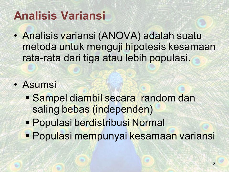 Analisis Variansi Analisis variansi (ANOVA) adalah suatu metoda untuk menguji hipotesis kesamaan rata-rata dari tiga atau lebih populasi.
