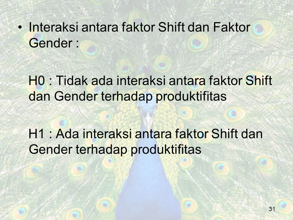 Interaksi antara faktor Shift dan Faktor Gender :