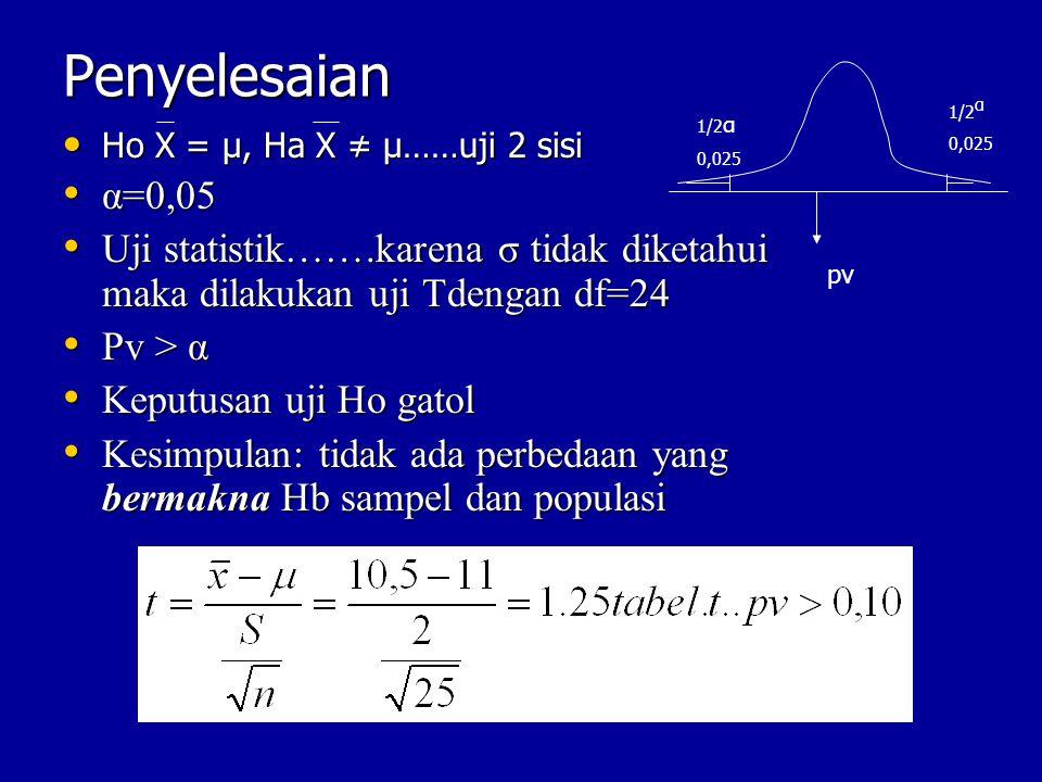 Penyelesaian 1/2α. 0,025. 1/2α. 0,025. Ho X = μ, Ha X ≠ μ……uji 2 sisi. α=0,05.