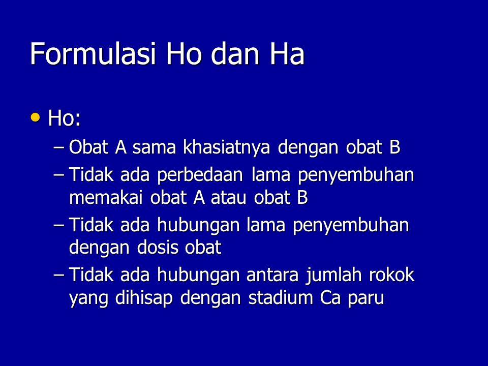 Formulasi Ho dan Ha Ho: Obat A sama khasiatnya dengan obat B