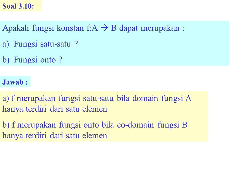 Apakah fungsi konstan f:A  B dapat merupakan : Fungsi satu-satu