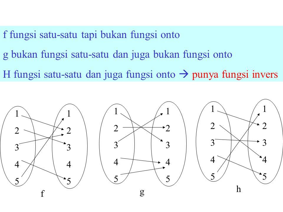 f fungsi satu-satu tapi bukan fungsi onto