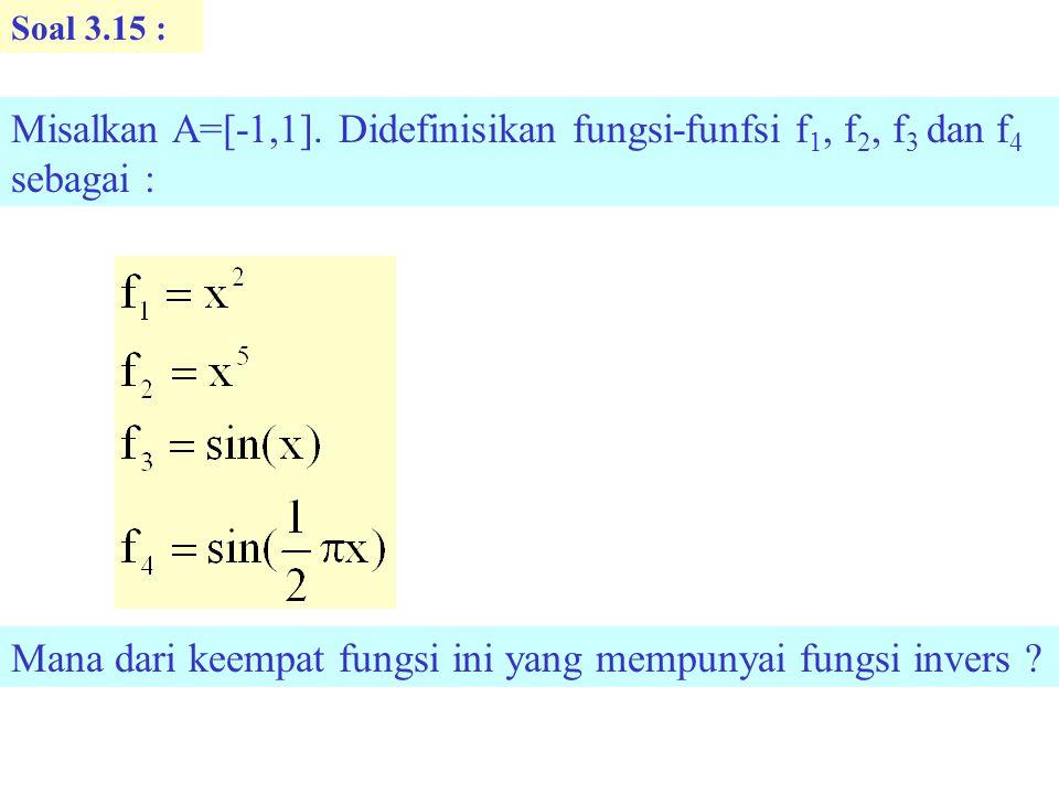 Mana dari keempat fungsi ini yang mempunyai fungsi invers