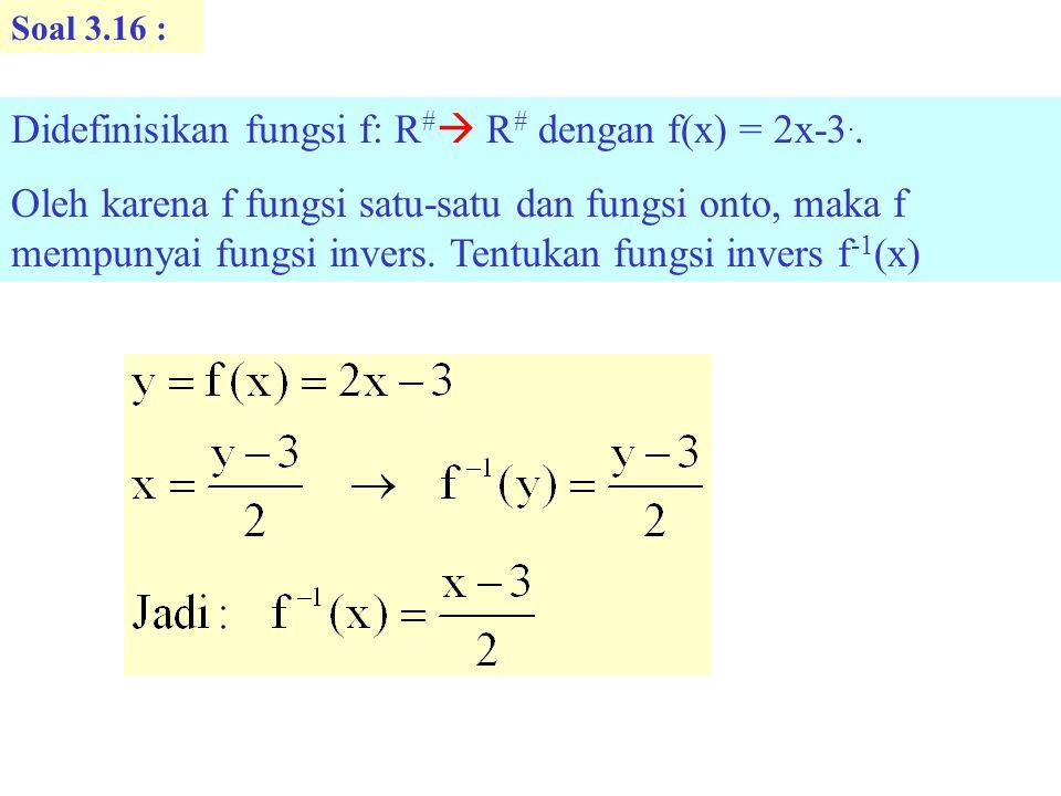 Didefinisikan fungsi f: R# R# dengan f(x) = 2x-3..