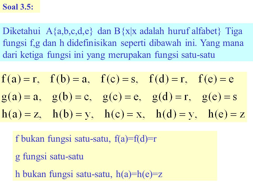 f bukan fungsi satu-satu, f(a)=f(d)=r g fungsi satu-satu