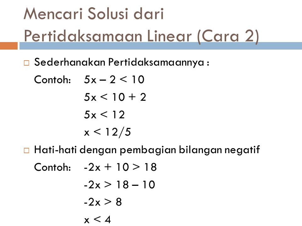 Mencari Solusi dari Pertidaksamaan Linear (Cara 2)
