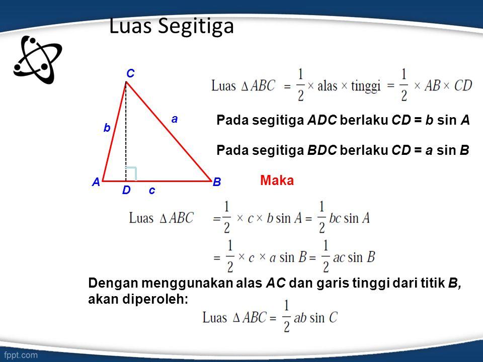Luas Segitiga Pada segitiga ADC berlaku CD = b sin A