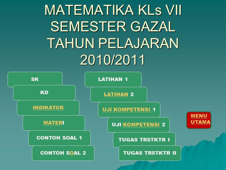 MATEMATIKA KLs VII SEMESTER GAZAL TAHUN PELAJARAN 2010/2011