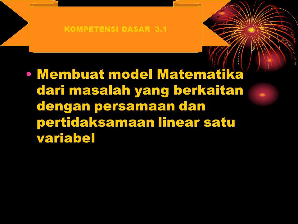 KOMPETENSI DASAR 3.1 Membuat model Matematika dari masalah yang berkaitan dengan persamaan dan pertidaksamaan linear satu variabel.