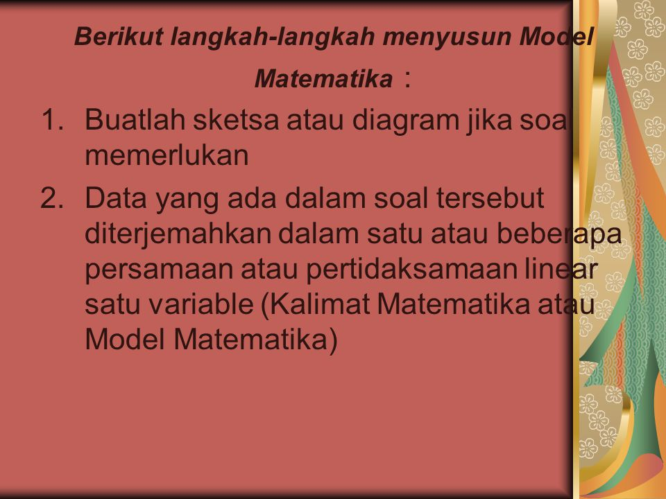 Berikut langkah-langkah menyusun Model