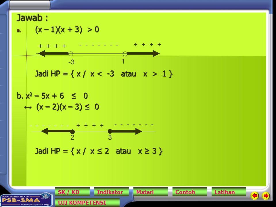 Jawab : (x – 1)(x + 3) > 0. Jadi HP = { x / x < -3 atau x > 1 } b. x2 – 5x + 6 ≤ 0. ↔ (x – 2)(x – 3) ≤ 0.