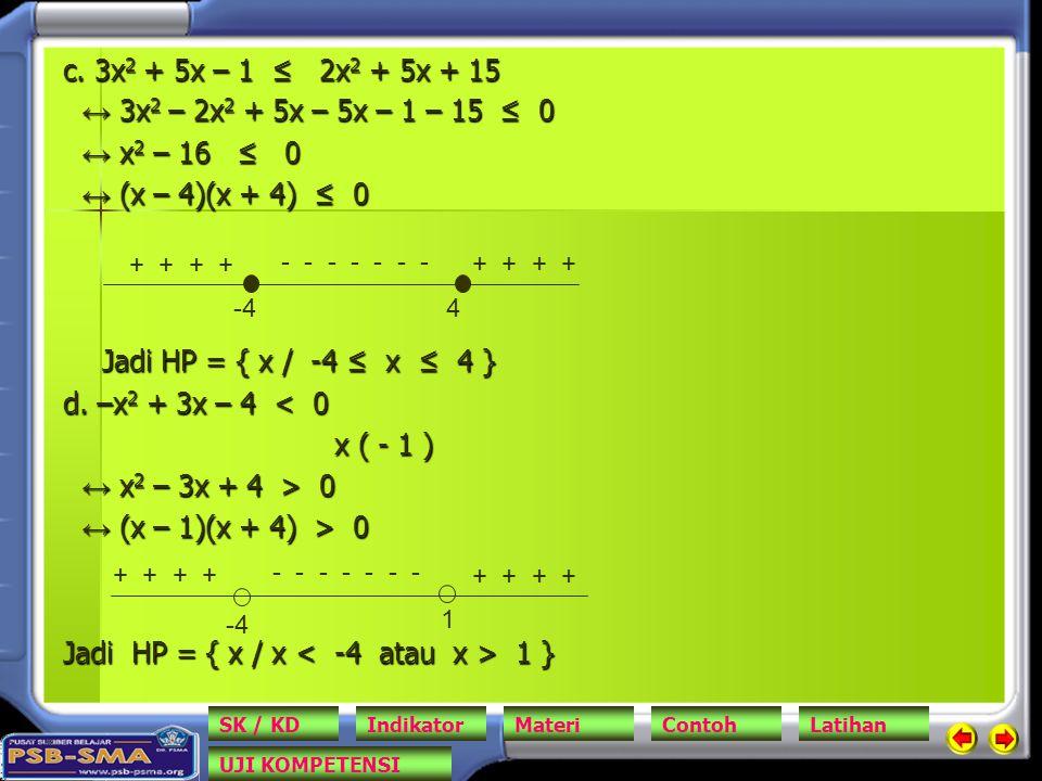 Jadi HP = { x / x < -4 atau x > 1 }