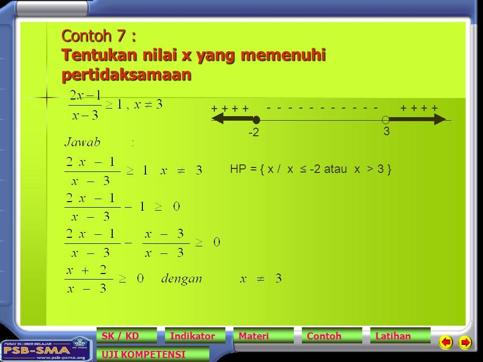 Contoh 7 : Tentukan nilai x yang memenuhi pertidaksamaan
