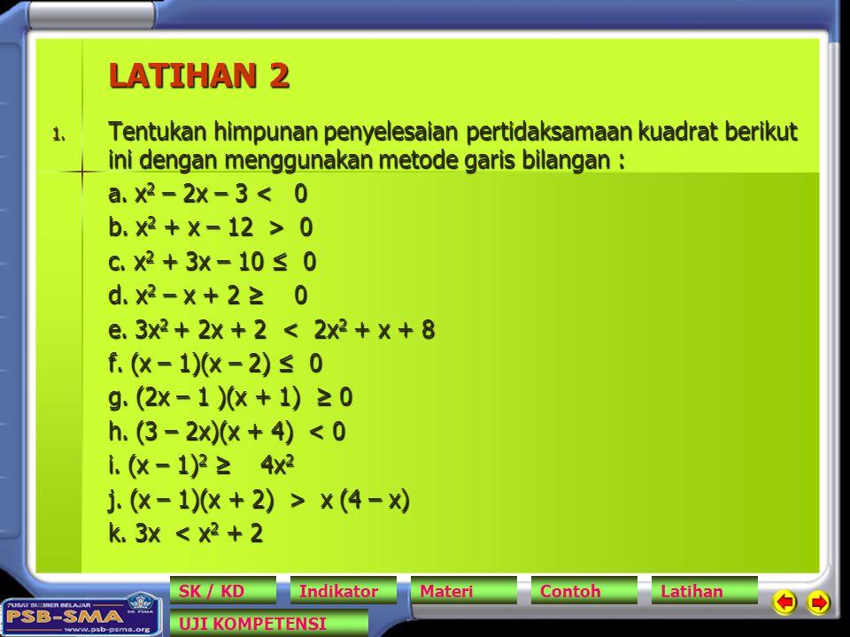 LATIHAN 2 Tentukan himpunan penyelesaian pertidaksamaan kuadrat berikut ini dengan menggunakan metode garis bilangan :
