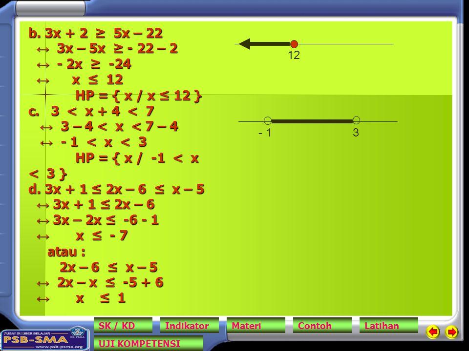 b. 3x + 2 ≥ 5x – 22 ↔ 3x – 5x ≥ - 22 – 2 ↔ - 2x ≥ -24 ↔ x ≤ 12