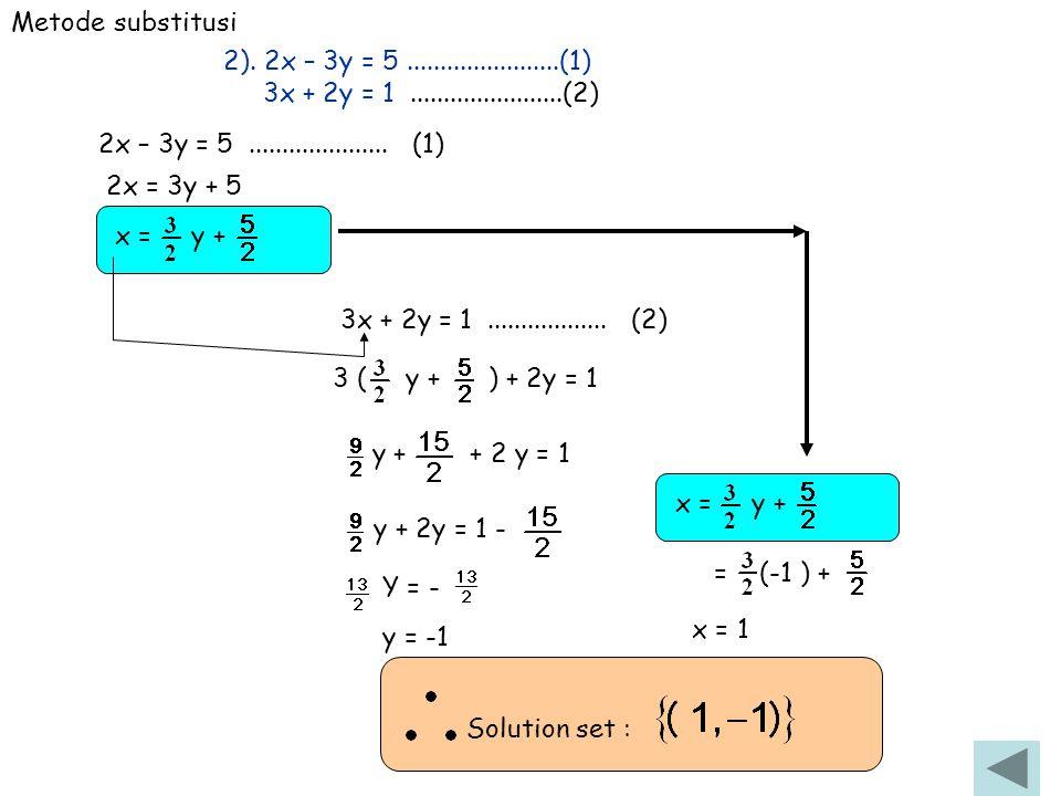 Metode substitusi 2). 2x – 3y = 5 .......................(1) 3x + 2y = 1 .......................(2)