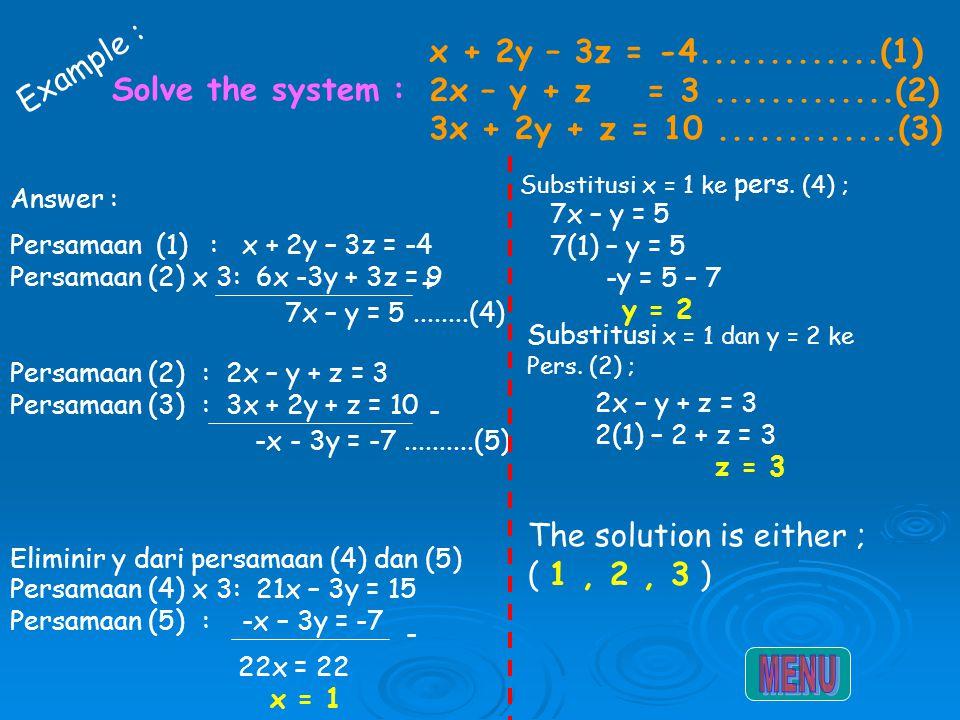 MENU Example : x + 2y – 3z = -4.............(1)