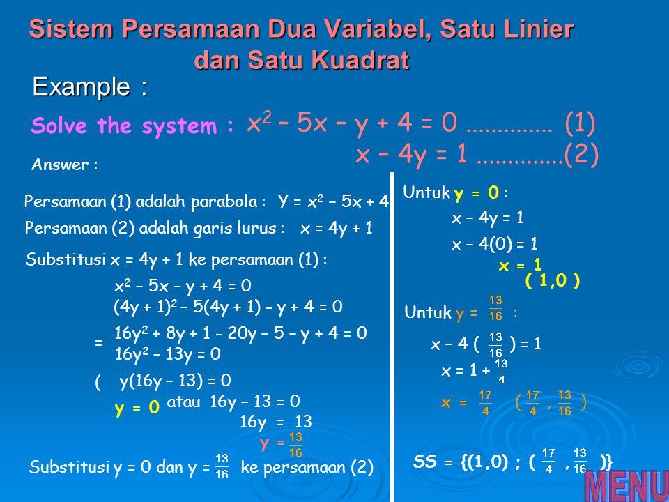 Sistem Persamaan Dua Variabel, Satu Linier dan Satu Kuadrat
