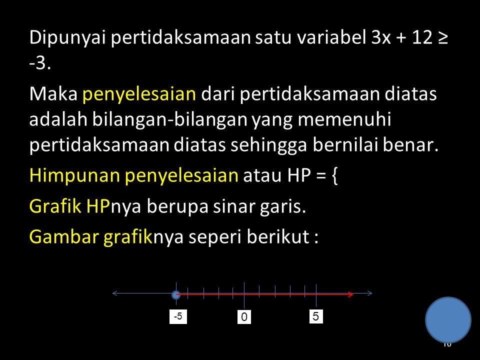 Dipunyai pertidaksamaan satu variabel 3x + 12 ≥ -3