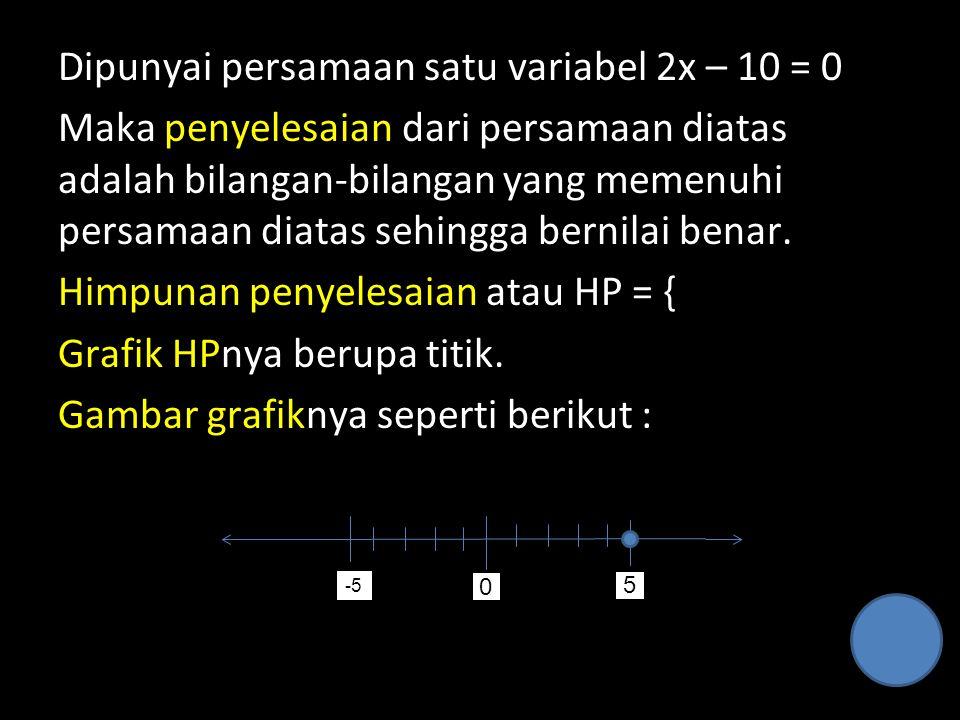 Dipunyai persamaan satu variabel 2x – 10 = 0 Maka penyelesaian dari persamaan diatas adalah bilangan-bilangan yang memenuhi persamaan diatas sehingga bernilai benar. Himpunan penyelesaian atau HP = { Grafik HPnya berupa titik. Gambar grafiknya seperti berikut :