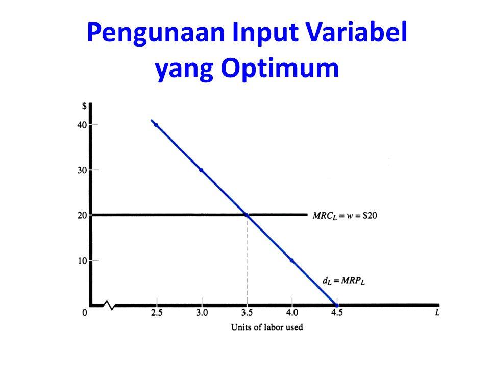 Pengunaan Input Variabel yang Optimum