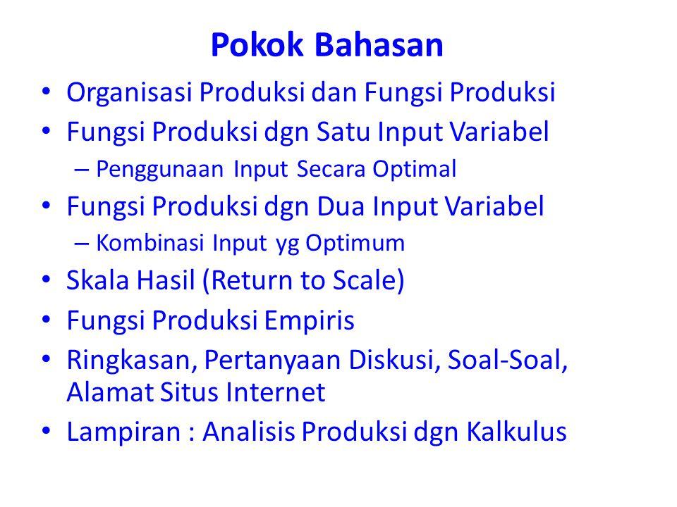 Pokok Bahasan Organisasi Produksi dan Fungsi Produksi