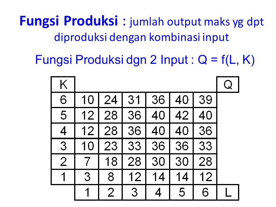 Fungsi Produksi dgn 2 Input : Q = f(L, K)