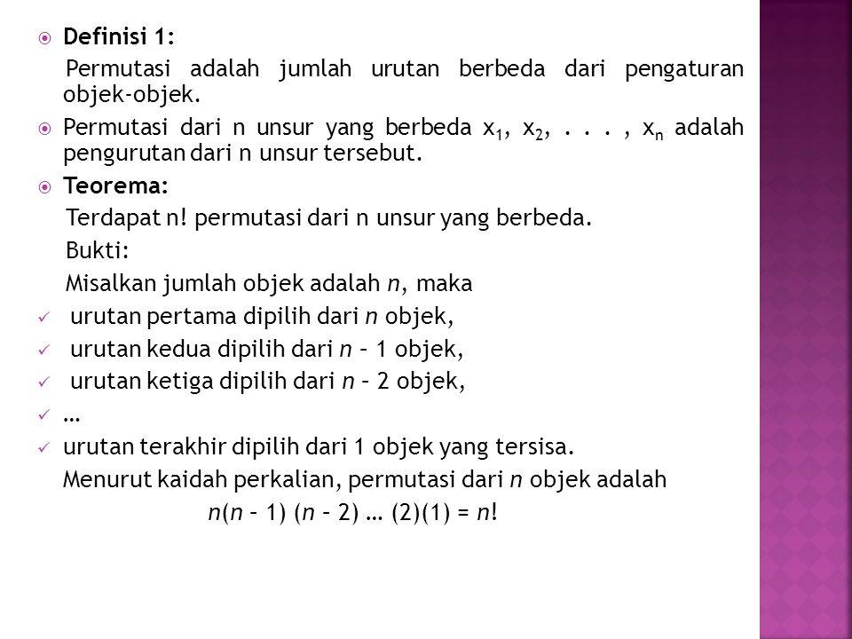 Definisi 1: Permutasi adalah jumlah urutan berbeda dari pengaturan objek-objek.