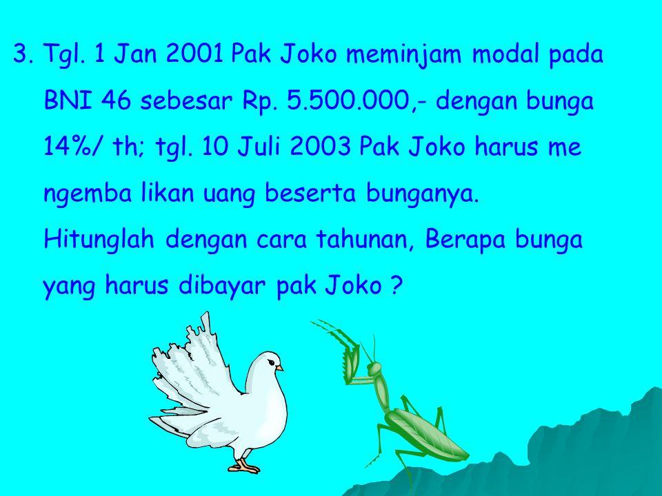 3. Tgl. 1 Jan 2001 Pak Joko meminjam modal pada