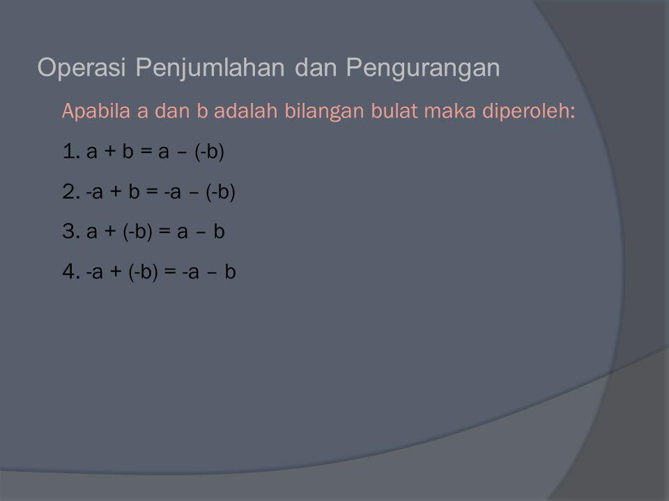 Operasi Penjumlahan dan Pengurangan Apabila a dan b adalah bilangan bulat maka diperoleh: 1.