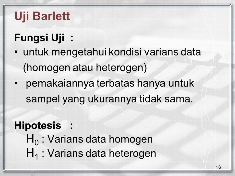Uji Barlett Fungsi Uji :